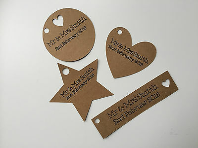 Personalised Wedding /Occasion Gift Favour Tags Labels Brown Kraft 25/50/100/150