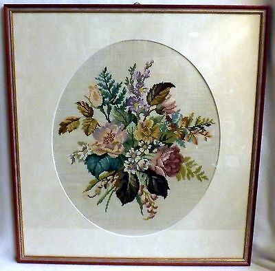 Framed Needlework Oval Panel Bouquet of Flowers in Perfect Condition