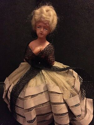 "Vintage Half doll Pin Cushion Complete EUC Hair 9"" Dresser Doll Germany"