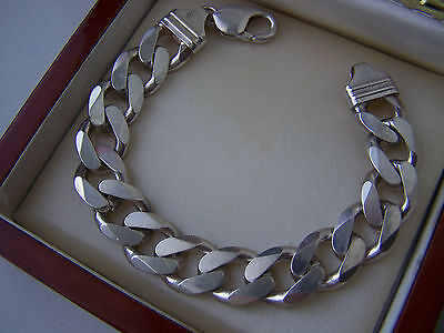 "Superb Solid Sterling Silver Flat Curb Link Chunky 7 3/4"" Bracelet Heavy 45.6""g"