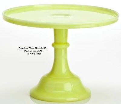 """Buttercream Glass Plain & Simple 12"""" Cake Plate Stand Pastry Tray Mosser"""