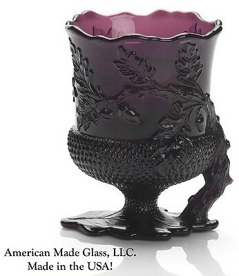 Amethyst Glass Acorn Pattern Footed Spoonholder Spooner - Mosser USA