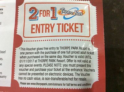 FREE ADULT Entry Voucher THORPE PARK 2 for 1 Ticket