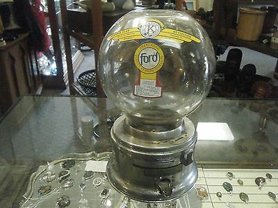 KIWANIS VINTAGE ONE CENT FORD Gum Machine Penny gumball Vending (Glass globe)