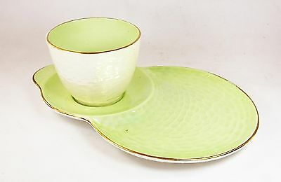 Vintage Maling ceramic Lustre TV tennis cup and saucer set green china