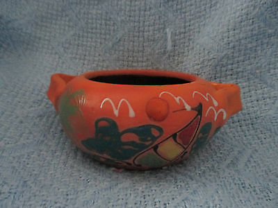 Handmade Clay Pottery Pot w/ Handles Made in Dom. Rep. Hand Painted SAILBOAT
