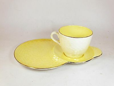 Vintage Maling ceramic Lustre TV tennis cup and saucer set yellow lemon china