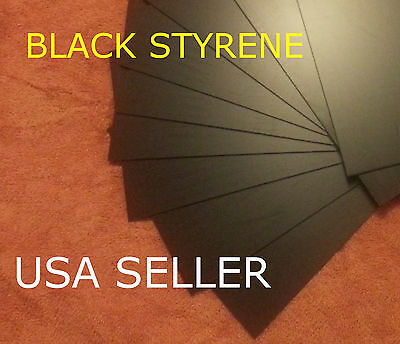 STYRENE SHEETS (5) .040 (1 MM) POLYSTYRENE BLACK -  .04 0.040 Model grade