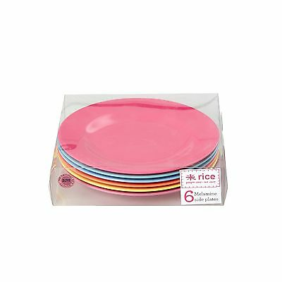RICE Melamine set of 6 lunch plates in bright colours