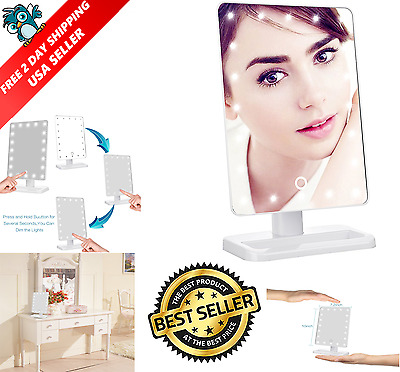 20 LED Lights Makeup Mirror Touch Screen Lighted Tabletop Cosmetic White