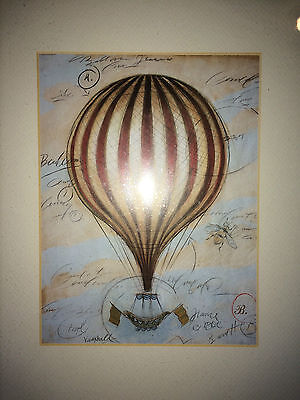 "Set of 2 Hot Air Balloon White Framed Pictures (15"" x 12.5"") Barrett France"