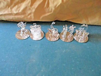 Clear Spun / Blown Glass FigurineS with Mirror Base SET OF 5