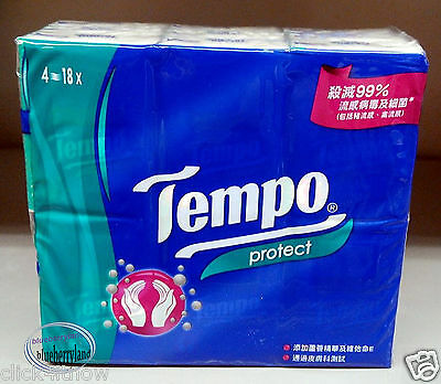 18 Packs TEMPO Poket Tissue Paper Pack set 4 ply PROTECT Tissues packs ladies