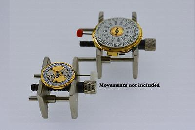 Set 2pcs Adjustable Metal Movement Case Holder Watch Vise Repair Tool 4040 4039