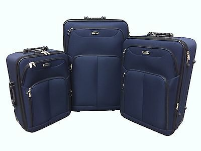 Set of 3 Travel Luggage Suitcase Wheels Trolley Soft Shell Bag Lightweight Blue