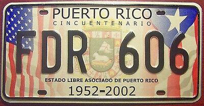 AUTHENTIC PUERTO RICO LICENSE PLATE SPECIAL ISSUE 50th ANNIVERSARY 2002 FLAGS PR