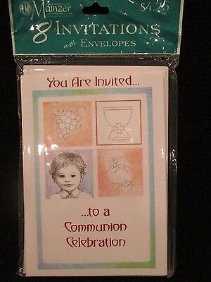 first communion boy invitation package of 8 with envelopes