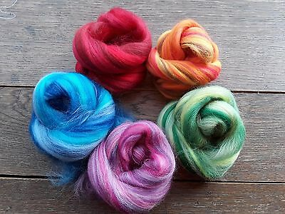 50g Merino Wool Blend Pack in Mixed Colours, Felting, Needle Felting, Spinning