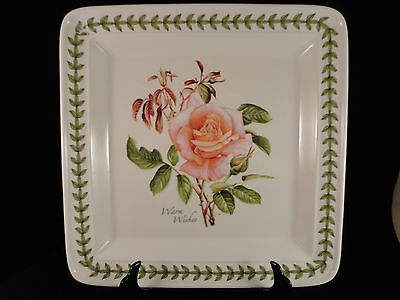 Portmeirion Rose Botanic Roses Square Dinner Plate Warm Wishes