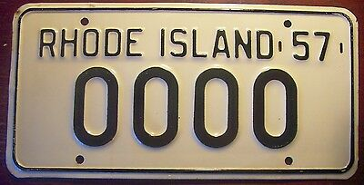 1957 Rhode Island Sample All Zeros Number License Plate Auto Tag 0000 R.i. 57