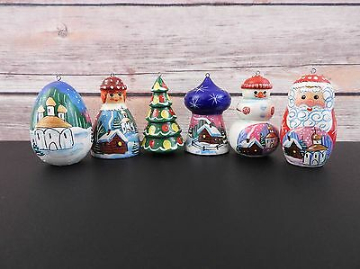 christmas tree decoration set russian little nesting dolls hand painted new