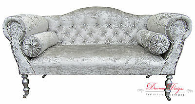 Gorgeous Crushed Silver Diamonte Velvet Double Ended Chaise Sofa