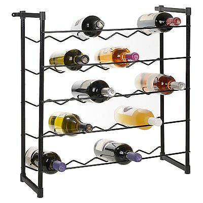 Metal Wine Rack For Up To 30 Bottles- Free Standing Wire Design- Black