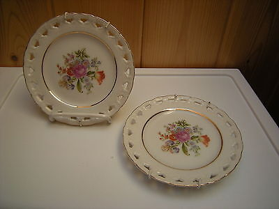 Vintage Two Occupied Japan Small Reticulated Floral Plates