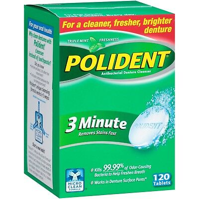 Polident 3 Minute Tablets Denture Cleanser, 120 count