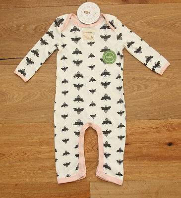 Burt's Bees Baby Girl Coverall ~ Ivory, Gray & Pink ~100% Organic Cotton ~