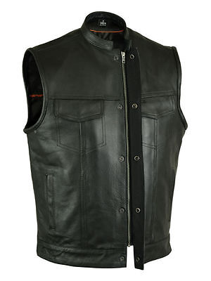 SOA Men's Anarchy Leather Vest Outlaws Motorcycle Biker Club Concealed Carry
