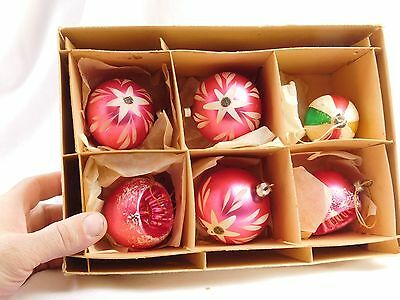 Fabulous Blown Glass Polish Boxed Christmas Ornaments Lot of 6 Pink Indents Mica