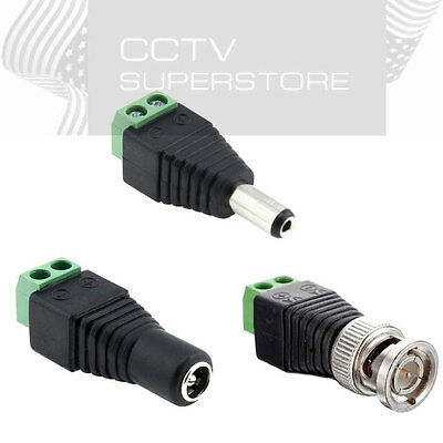 Male Female 2.1x5.5mm DC Power Plug Jack Adapter Wire Connector for CCTV Lot