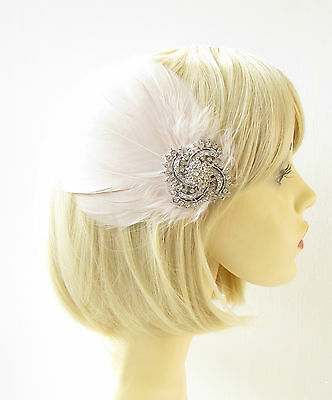 Cream Silver Feather Fascinator Hair Clip Races Diamante Headpiece Vintage 1798