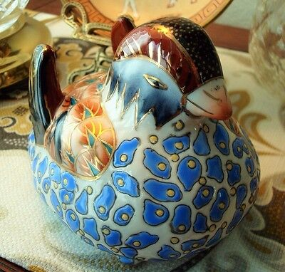 Porcelain Blue, Burgundy & Gold Bird Figurine - Excellent Condition!!