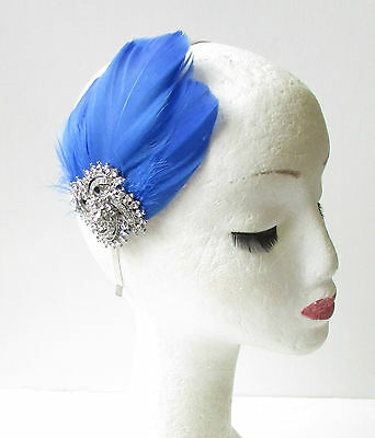 Cobalt Blue Silver Feather Headband Fascinator Headpiece Vintage Diamante 1799