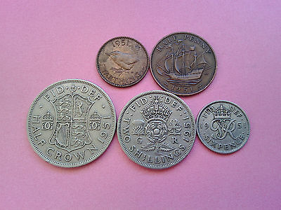 5 Coins George VI Year 1951 Set Collection Bulk Lot Birthday Present Gift (T458)