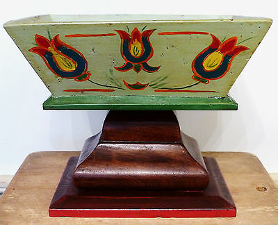 RARE SIGNED BRUNGART PA German FOLK ART TULIP HEART PAINTED SEWING BOX STAND