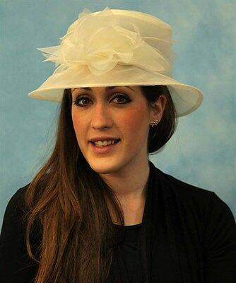 Black or Cream Very Light Crush-able Organza Hat with flower and feather Wedding