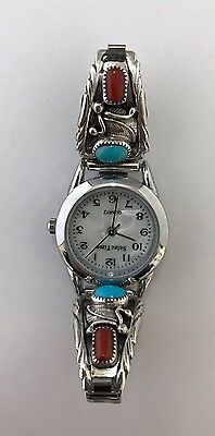 Native American Sterling Silver Handmade Turquoise Coral Ladies Watch