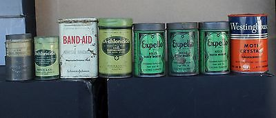 Vintage MOTH CRYSTALS Tin Metal Can Poison Vacuum Cleaner Band-Aid Expello