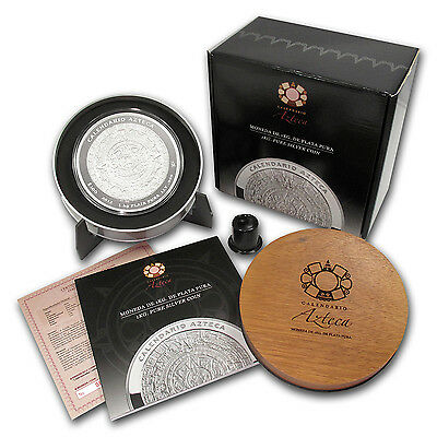 2012 1 Kilo Silver Aztec Calendar Coin - with Box and Certificate