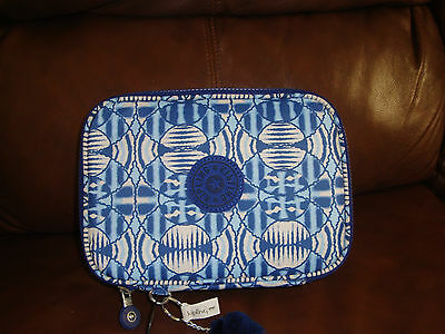 New with tags Kipling pencil case, color blue/white.