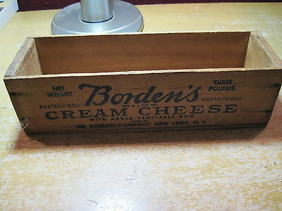 Vintage Bordens Cream Cheese Wood Box, 11 X 3.5 X 3 Inches