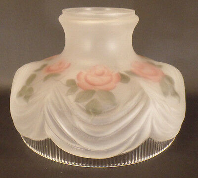"New 10"" Coleman Style #322 Glass Lamp Shade, Satin Crystal, Painted Roses #SH099"