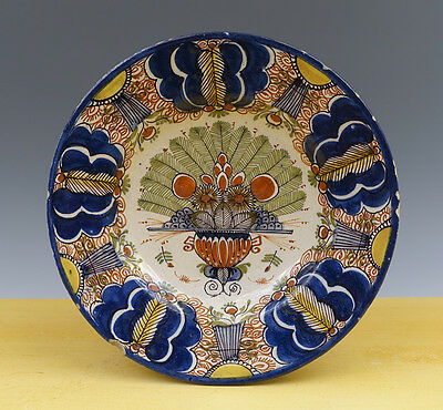 Antique Dutch Delft Plate ''Peacock'' 18TH C. MARKED