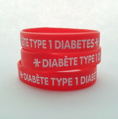 Diabetes Type 1 DT1 alert 100% silicone wristband Medical Id