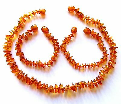 Genuine amber necklace or amber anklet bracelet baby to teen size, natural chips