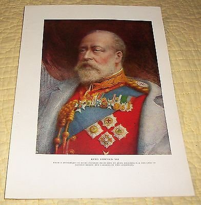 Antique 1909 King Edward Vii Color Book Plate Alyn Williams Lovely Example