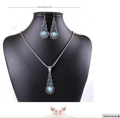 Womens Vintage Ethnic Turquoise Necklace And Earring Jewellery Set Gift UK